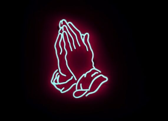 cartoon image of hands praying like